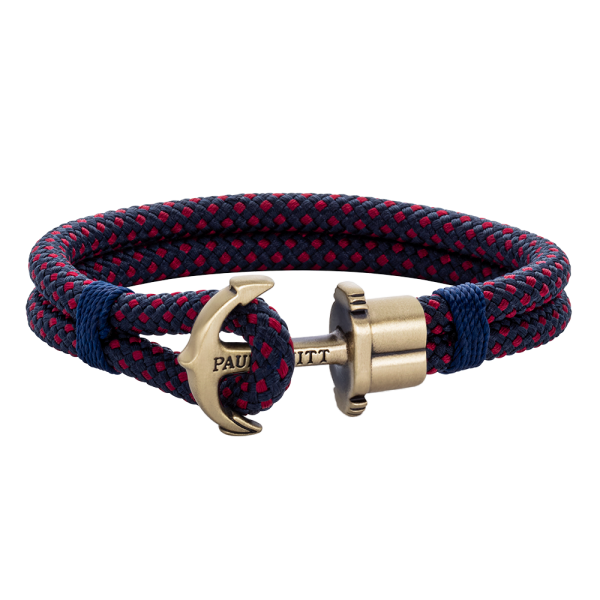Anchor Bracelet Phrep Brass Nylon Navy Blue Red