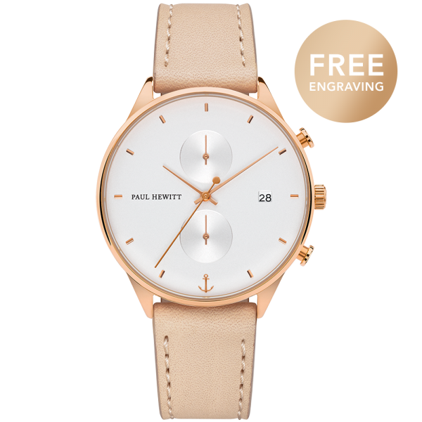 Montre Chrono White Sand Or Rose Cuir Hazelnut