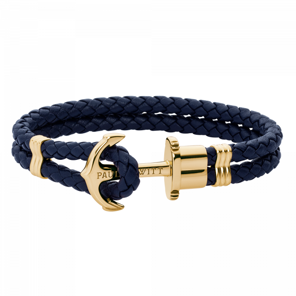 Anchor Bracelet Phrep Gold Leather Navy Blue