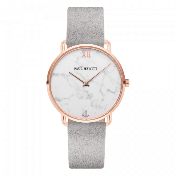 Montre Miss Ocean Marble Or Rose Alcantara Gris