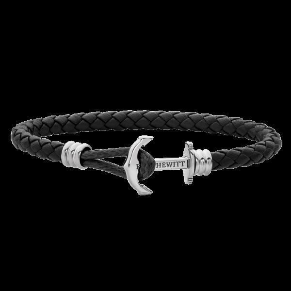Anchor Bracelet Phrep Lite Silver Leather Black