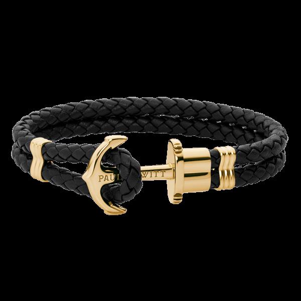 Anchor Bracelet Phrep Gold Leather Black