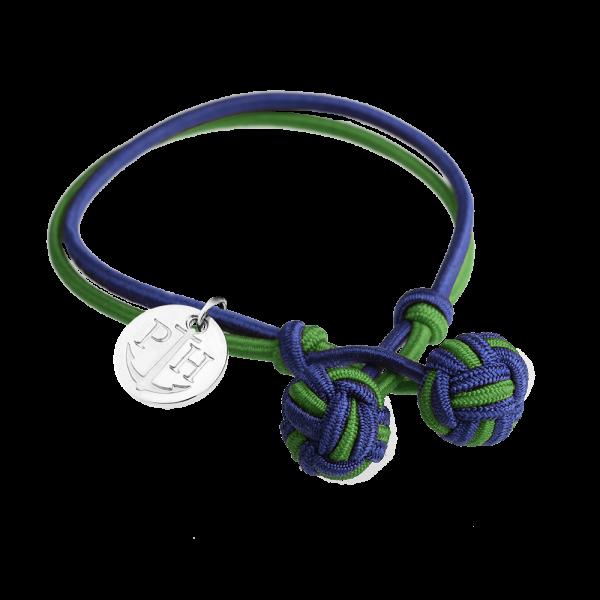 Bracelet Nœud Argenté Nylon Bleu Marine Vert