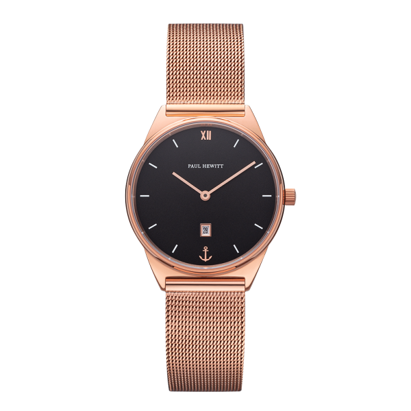 Montre Praia Black Sea Or Rose Mesh