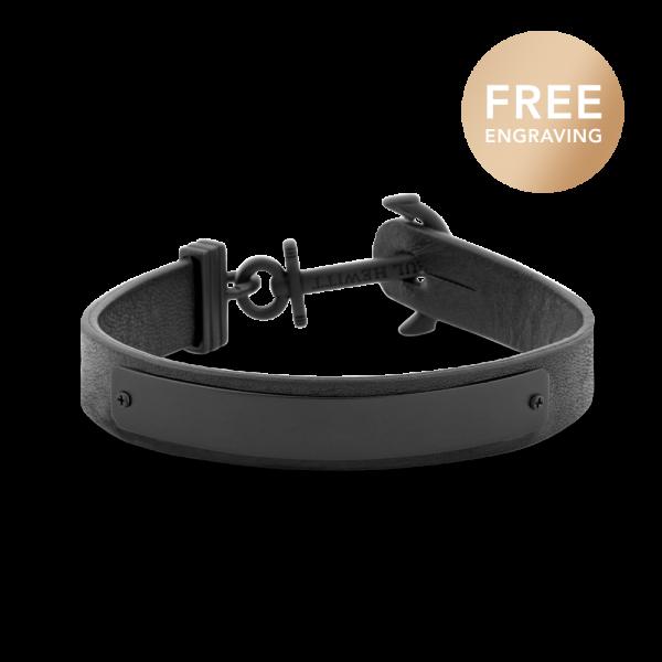 Bracelet Ancre Signum Noir Cuir Noir