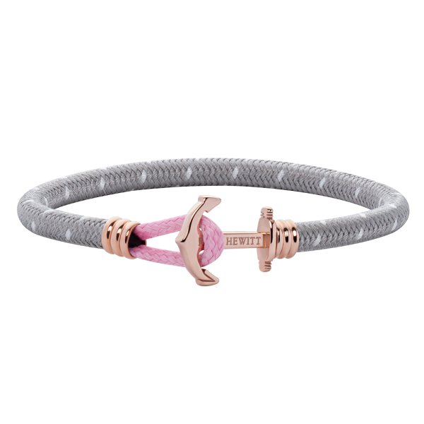Anchor Bracelet Phrep Lite Rose Gold Nylon Grey White Light Pink