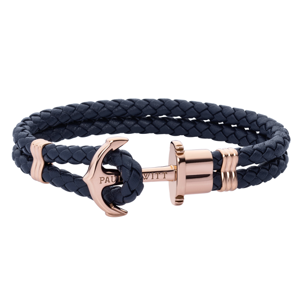 Anchor Bracelet Phrep Rose Gold Leather Navy Blue
