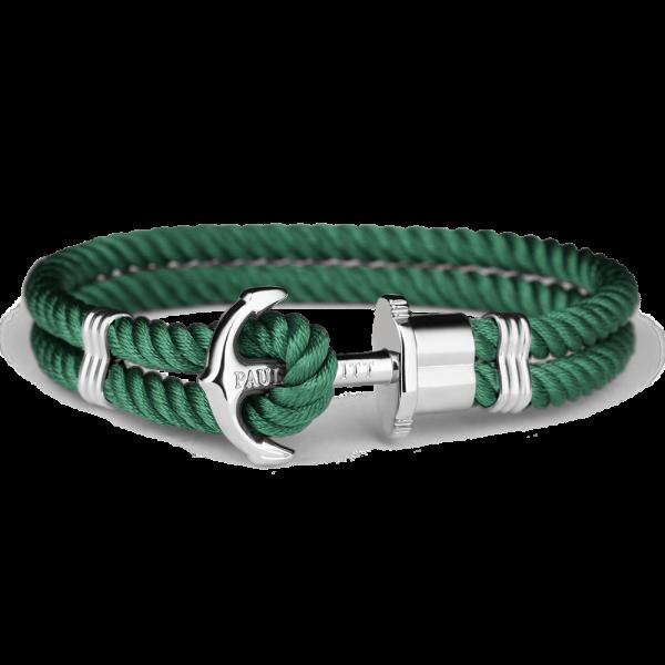 Anchor Bracelet Phrep Silver Nylon Green