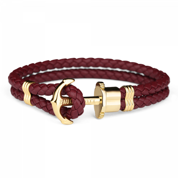 Anchor Bracelet Phrep Gold Leather Dark Berry