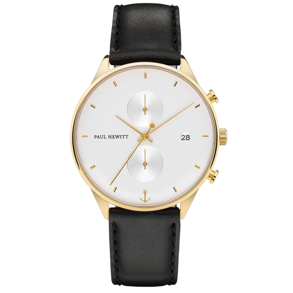 Montre Chrono White Sand Or Cuir Noir