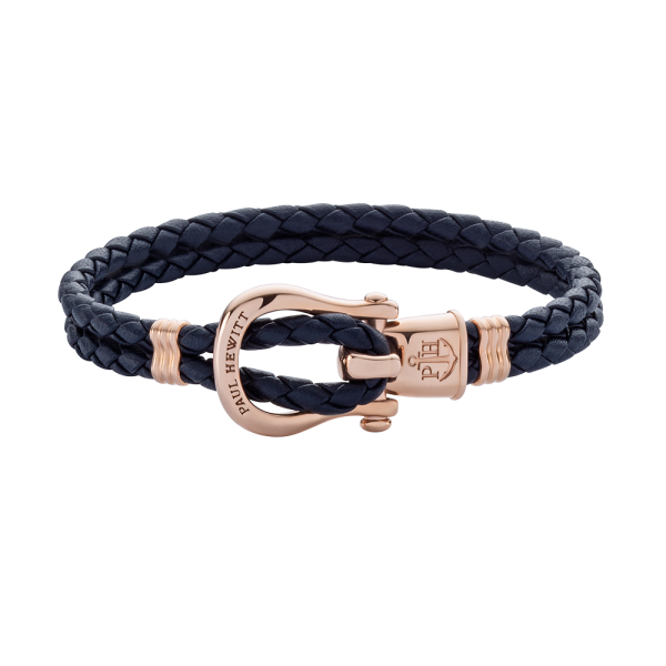 Bracelet Phinity Rose Gold Leather Navy Blue