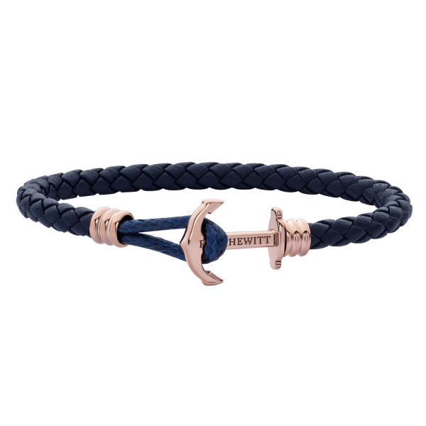 Anchor Bracelet Phrep Lite Rose Gold Leather Navy Blue