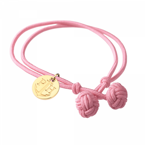 Knotbracelet Gold Nylon Light Pink