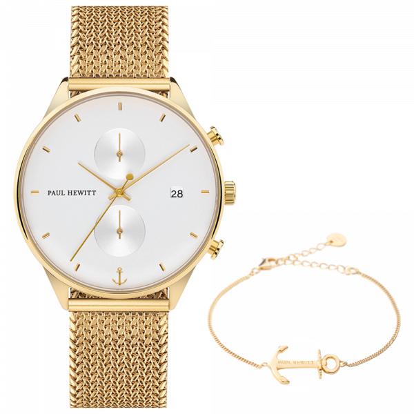 Set Perfect Match Chrono White Sand Oro y Anchor Spirit Oro