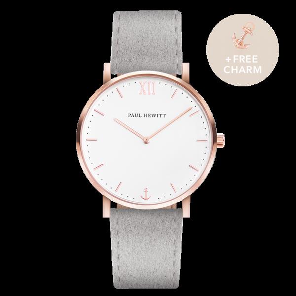 Uhr Sailor White Sand Roségold Alcantara Grau