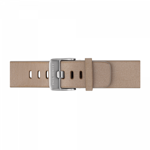 Watch Strap Leather Silver Sandstone 20 mm