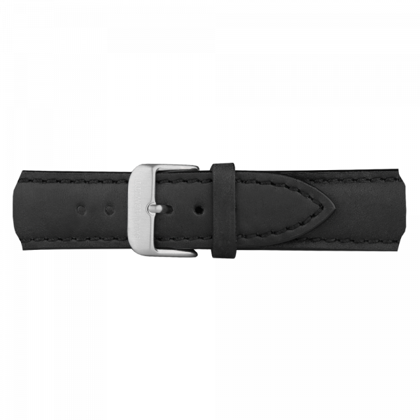 Watch Strap Leather Silver Black 20 mm