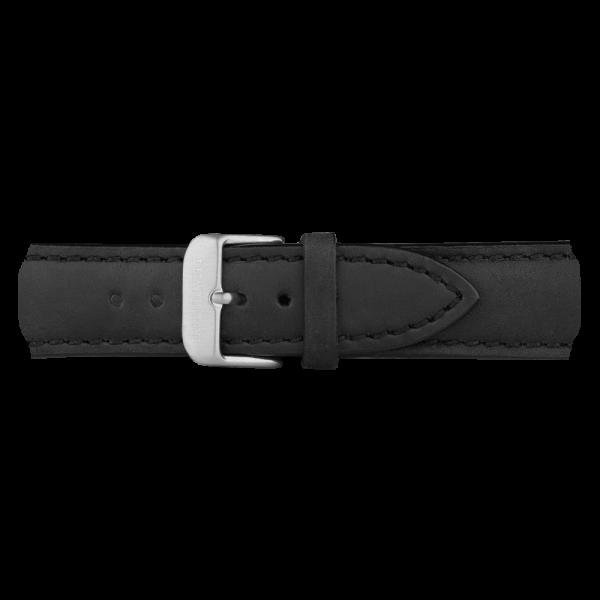Uhrenarmband Leder Silber Schwarz 20 mm