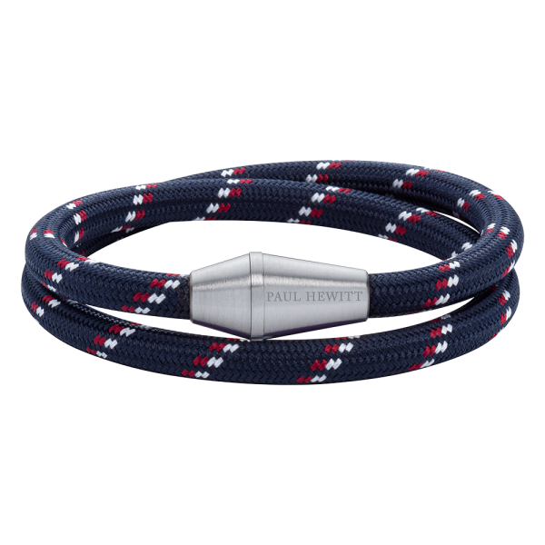Bracelet Conic Wrap Silver Nylon Navy Blue Red White