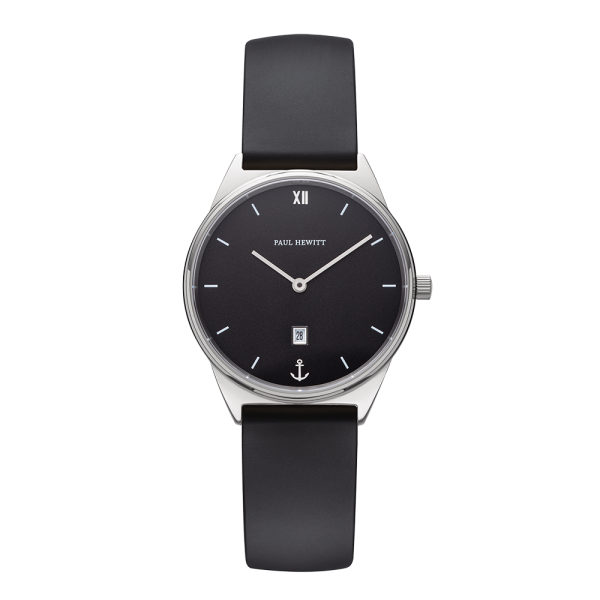 Watch Praia Black Sea Silver Natural Rubber
