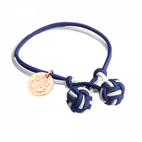 Knotbracelet Rose Gold Nylon Navy Blue White