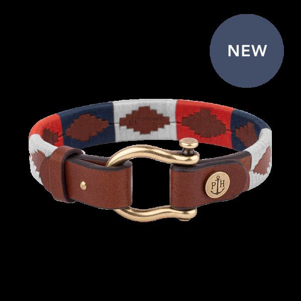 Bracelet Forestbound Brass Leather Nylon Navy Blue White Red