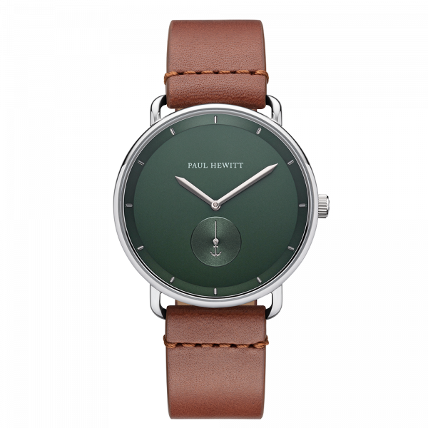 Montre Breakwater Forest Vert Argenté Cuir Mid Brown
