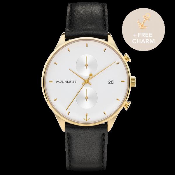 Uhr Chrono White Sand Gold Leder Schwarz