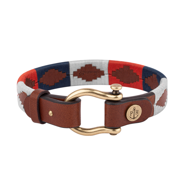 Bracelet Forestbound Brass Leather Nylon Navy Blue White Red