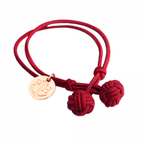 Knotbracelet Rose Gold Nylon Red
