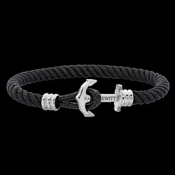 Bracelet Ancre Phrep Lite Argenté Nylon Noir