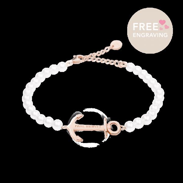 Bracelet Anchor Spirit Or Rose Pearl