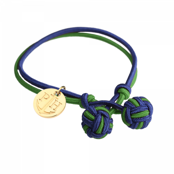 Knotbracelet Gold Nylon Navy Blue Green