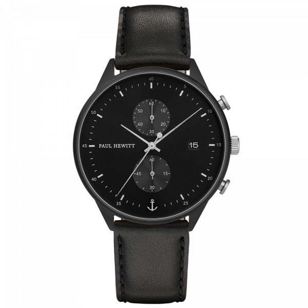 Watch Chrono Black Sunray Black Silver Leather Black
