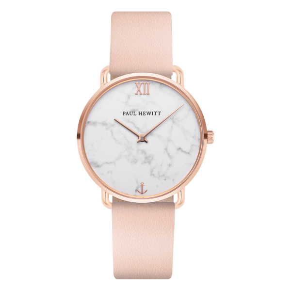 Montre Miss Ocean Marble Or Rose Cuir Nude