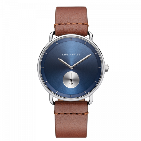 Montre Breakwater Navy Sunray Argenté Cuir Mid Brown