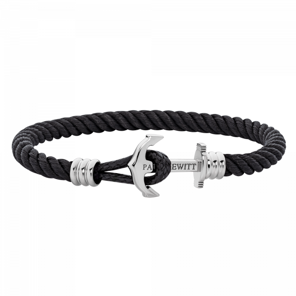 Anchor Bracelet Phrep Lite Silver Nylon Black