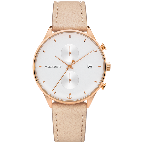 Watch Chrono White Sand Rose Gold Leather Hazelnut