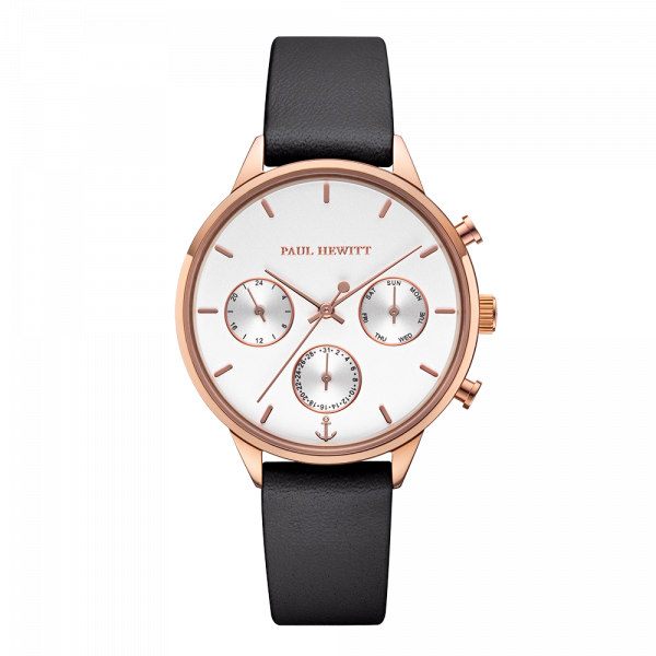 Reloj Everpulse White Sand Or Rosa Piel Negro