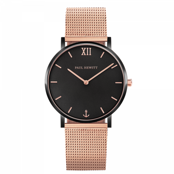 Watch Sailor Black Sunray Black Rose Gold Mesh Rose Gold