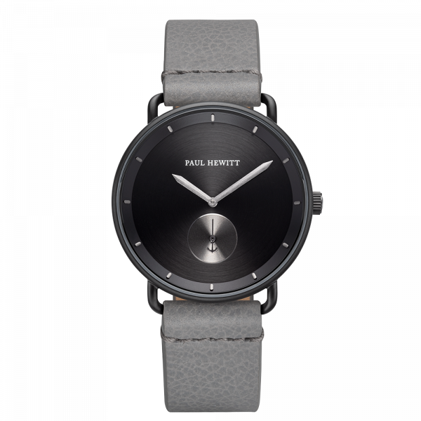 Montre Breakwater Black Sunray Noir Gun Metal Cuir Light Grey