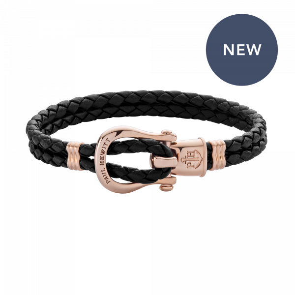 Bracelet Phinity Rose Gold Leather Black