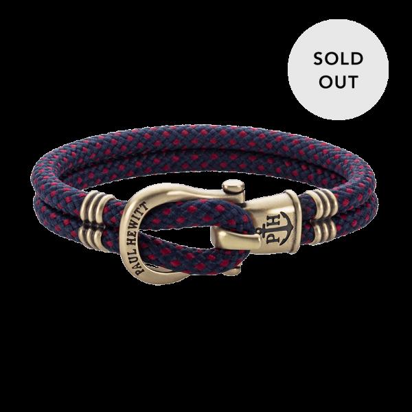 Bracelet Phinity Brass Nylon Navy Blue-Red