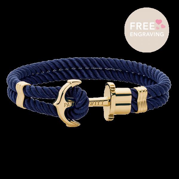 Anchor Bracelet Phrep Gold Nylon Navy Blue