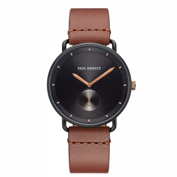 Montre Breakwater Black Sunray Noir Bronze Cuir Mid Brown