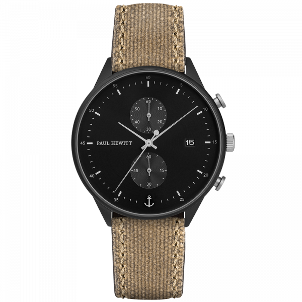 Montre Chrono Black Sunray Noir Argenté Canvas Desert