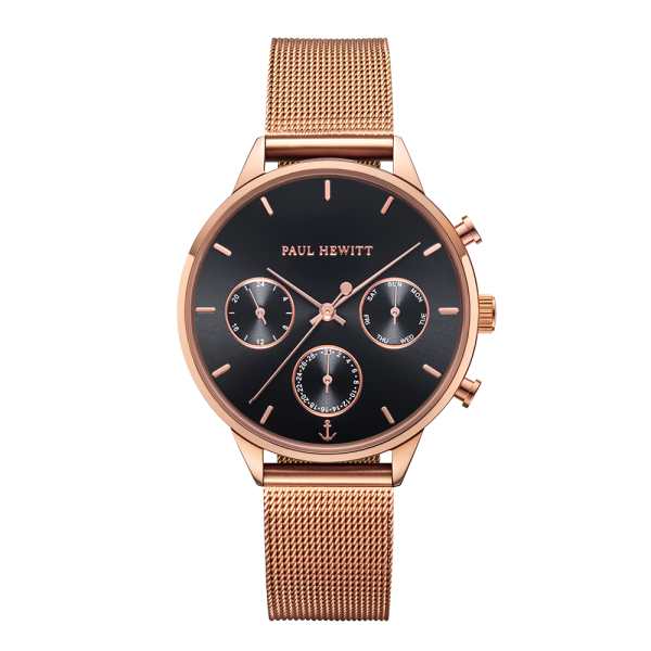 Watch Everpulse Black Sunray Rose Gold Mesh