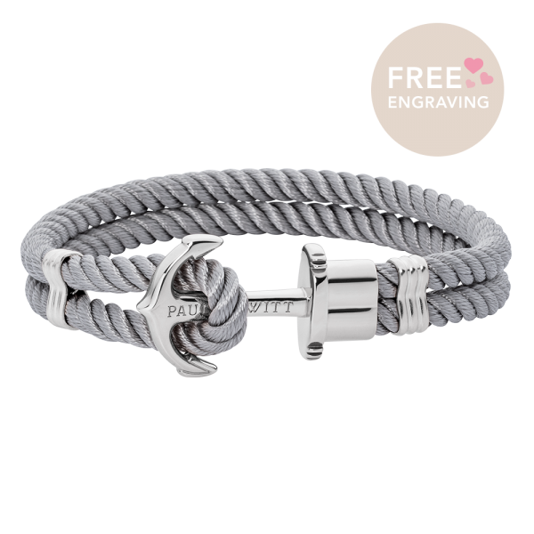 Anchor Bracelet Phrep Silver Nylon Grey