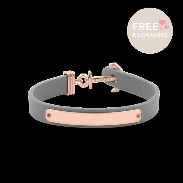 Bracelet Ancre Signum Or Rose Cuir Gris