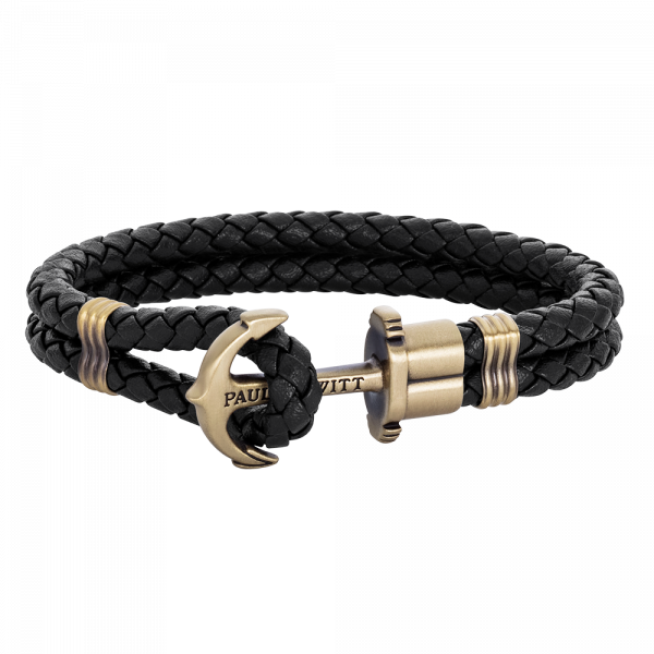 Anchor Bracelet Phrep Brass Leather Black